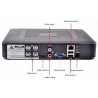 4-х канальный гибридный AHD регистратор (аналог, AHD,TVI, IP)