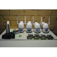 Комплект видеонаблюдения 4 камеры, IP,WIFI,PTZ, SD